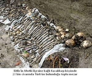 Bitlis'in Mutki ilçesine bağlı Kavakbaşı köyünde 20 bin civarında Türk'ün bulunduğu toplu mezar.