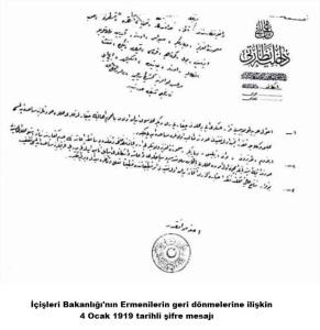 İçişleri Bakanlığı'nın Ermenilerin geri dönmelerine ilişkin 4 Ocak 1919 tarihli şifre mesajı