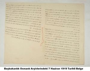 Başbakanlık Osmanlı Arşivlerindeki 7 Haziran 1919 Tarihli Belge